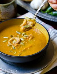 Healthy Soup Recipe | ASpicyPerspective.com #soup #pumpkin