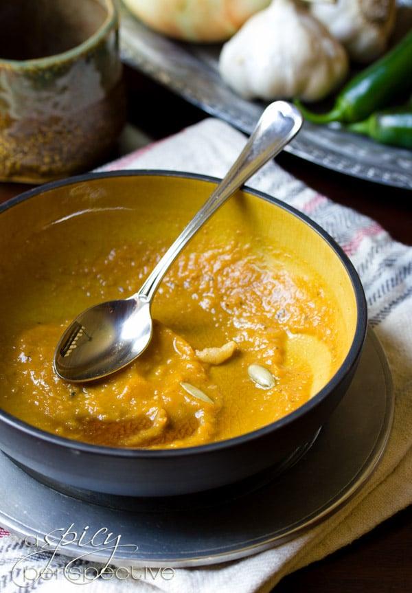 Gluten Free Pumpkin Soup Recipe | ASpicyPerspective.com #soup #pumpkin