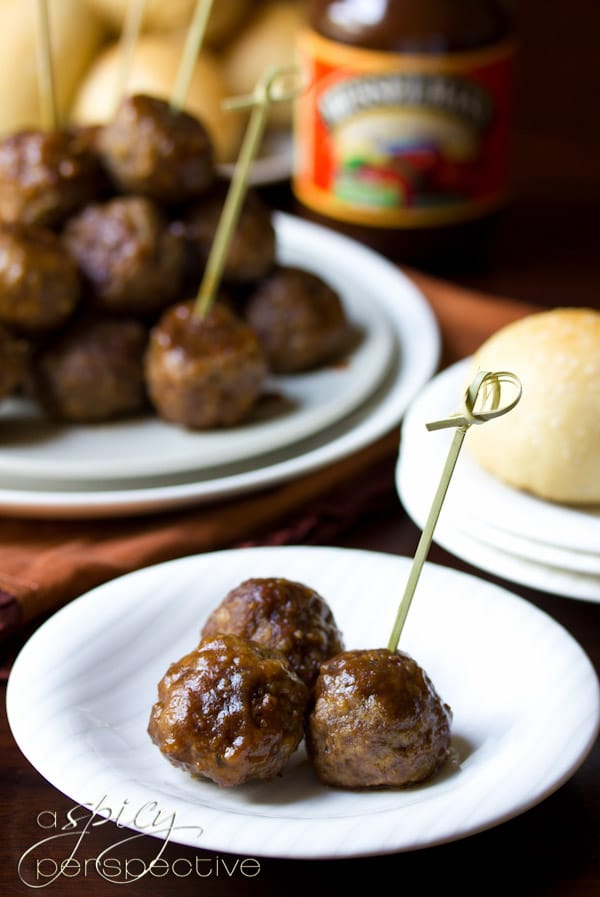 Apple Butter Cocktail Meatballs | ASpicyPerspective.com #recipe #holidays #party