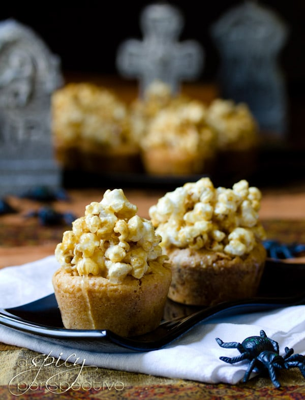 Carmel Corn Topped Blondies Recipe | ASpicyPerspective.com #Halloween #Blondies