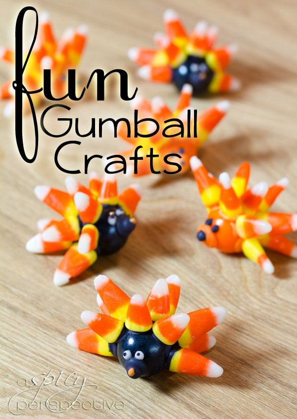 Halloween Gumball Food Craft: Edible Gifts | ASpicyPerspective.com #KidFriendly #Halloween #EdibleGifts #Gumballs