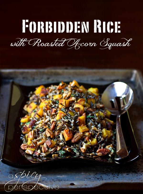 Black Forbidden Rice with Roasted Acorn Squash   ASpicyPerspecive.com ...