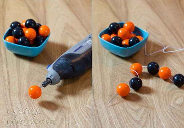 Food Craft: How to Make Gumball Bracelets | ASpicyPerspective.com #KidFriendly #Halloween #EdibleGifts #Gumballs