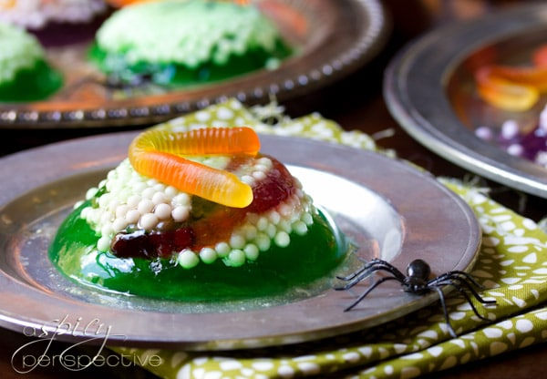 Halloween Jello Worm and Spider Nest Treats | ASpicyPerspective.com #Halloween #KidFriendly #Jello