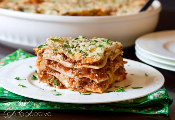 Homemade Lasagna with Cream Cheese | ASpicyPerspective.com #Lasagna #Pasta