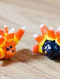 Food Crafts: Gumball Hedgehog Craft | ASpicyPerspective.com #KidFriendly #Halloween #EdibleGifts #Gumballs
