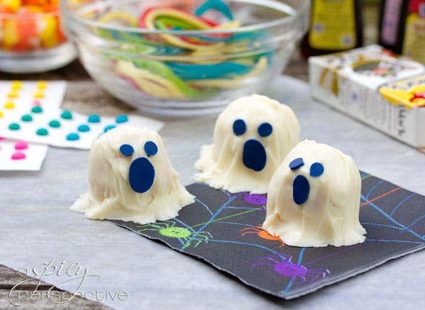 Ghost Cake Truffles | ASpicyPerspective.com #Halloween #Cake #Recipe