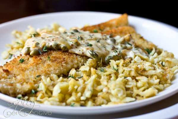Trout Schnitzel with Crispy Spaetzle and Mustard Cream Sauce | ASpicyperspective.com #Octoberfest #German
