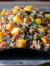 Black and Orange Forbidden Rice with Roasted Acorn Squash and Pecans | ASpicyPerspecive.com #Halloween #Recipes #Fall