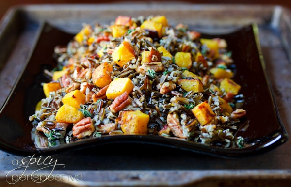 Black and Orange Forbidden Rice with Roasted Acorn Squash and Pecans | ASpicyPerspecive.com #Halloween #Recipes #Fall #Thanksgiving