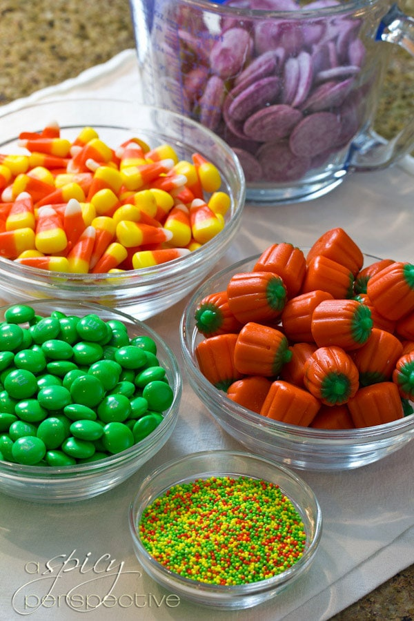 Making Halloween Popcorn Mix