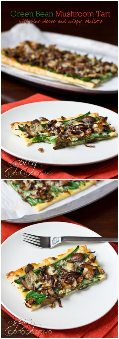Green Bean Mushroom Tart with Blue Cheese