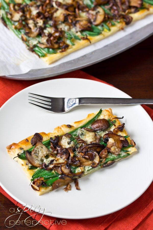 Green Bean Mushroom Tart - A Savory Tart Version of Green Bean Casserole | ASpicyPerspective.com #thanksgiving #holidays #recipe