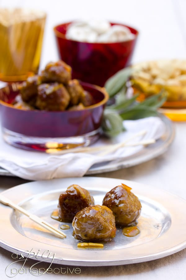 Turkey Meatballs with Orange Glaze | ASpicyPerspective.com #holiday #partyfood #recipe