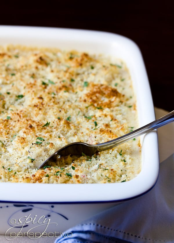 Crab Mac and Cheese | ASpicyPerspective.com #macandcheese #gratin #holidays