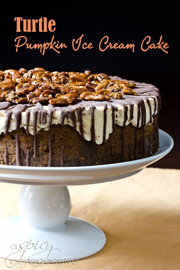 Turtle Pumpkin Ice Cream Cake: An Easy #Thanksgiving Dessert | ASpicyPerspective.com #holidays #icecream #pumpkin