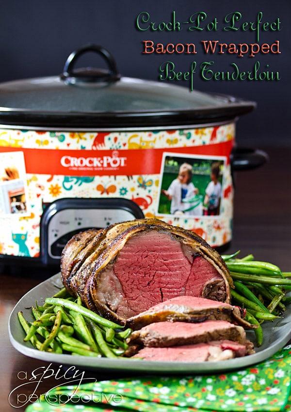 Crockpot Beef Tenderloin Recipe with Balsamic Glaze | ASpicyPerspective.com #holidays #crockpot #slowcooker #recipes