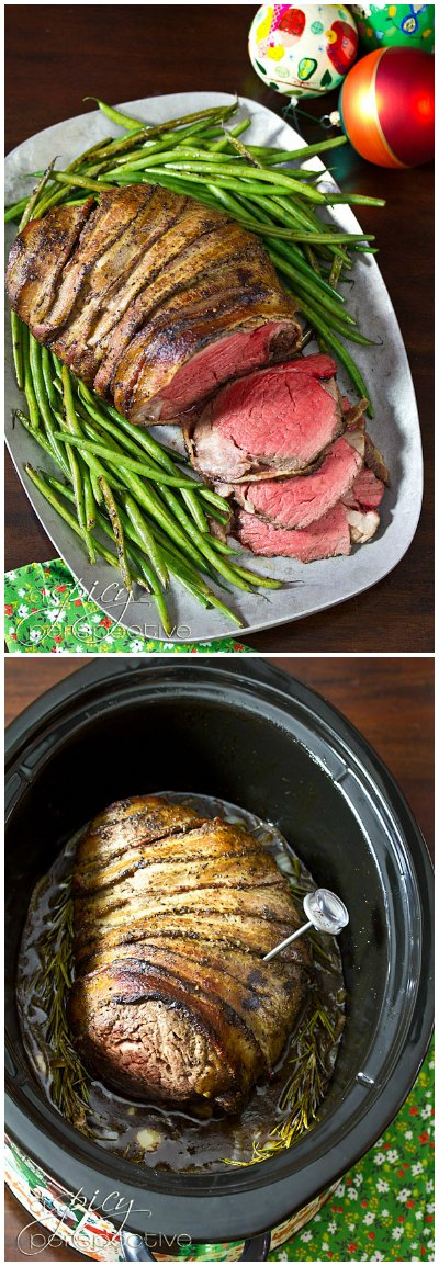 Slow Cooker Beef Tenderloin Recipe with Balsamic Glaze | ASpicyPerspective.com #holidays #crockpot #slowcooker #recipes