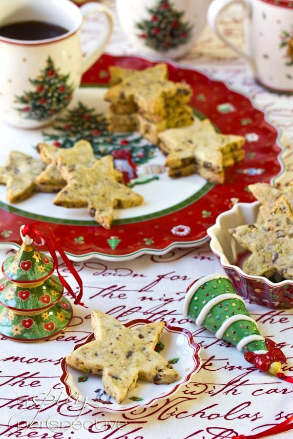 Pistachio-Chocolate Shortbread Recipe   ASpicyPerspective.com #cookies #christmascookies #cookieexchange