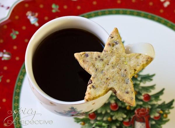 Pistachio-Chocolate Shortbread Cookie Recipe | ASpicyPerspective.com #cookies #christmascookies #cookieexchange