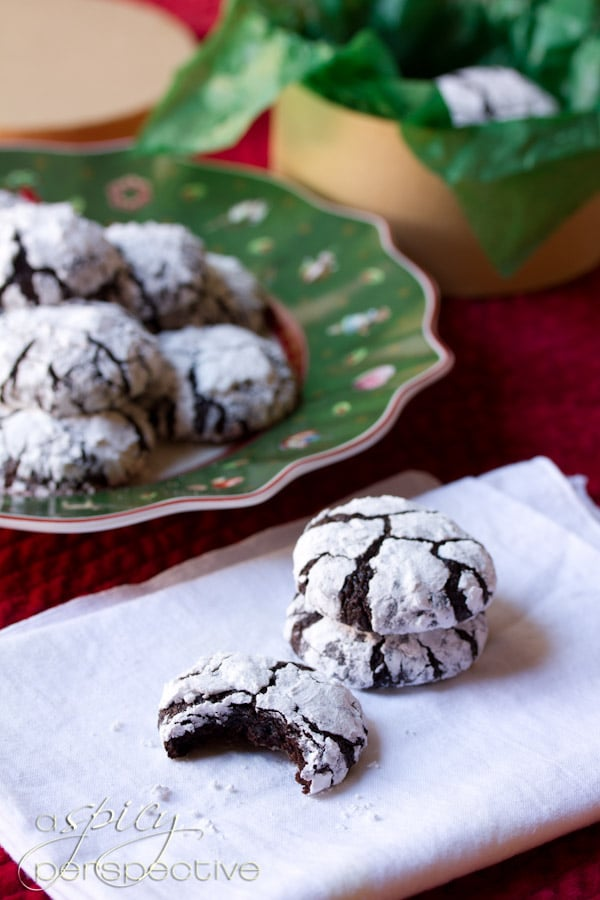 Mexican Mocha Crinkle Cookies | ASpicyPerspective.com #christmas #cookies #recipe