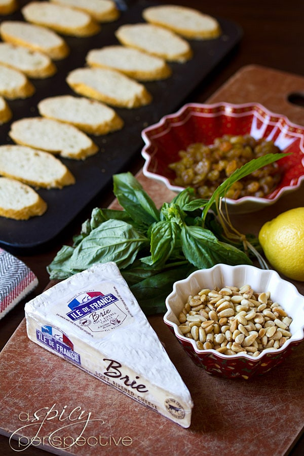 Easy Brie Toasts with Basil, Pine Nuts and Golden Raisins ...