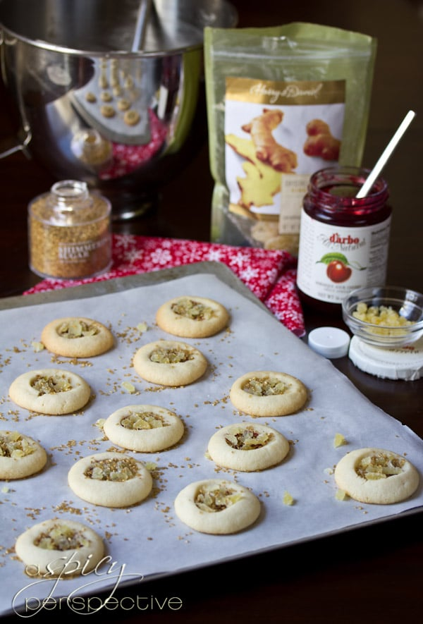 How to Make Cherry Ginger Thumbprint Cookies | ASpicyPerspective.com #cookies #cookieexchange #christmascookies