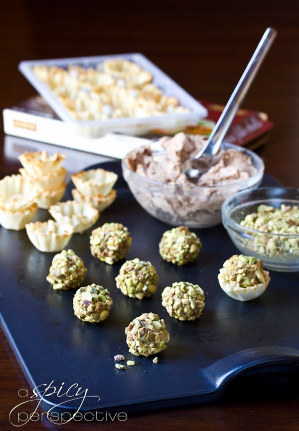 Mini Cheese Balls Recipe in Phyllo Shells | ASpicyPerspective.com #recipe #partyfood #appetizers