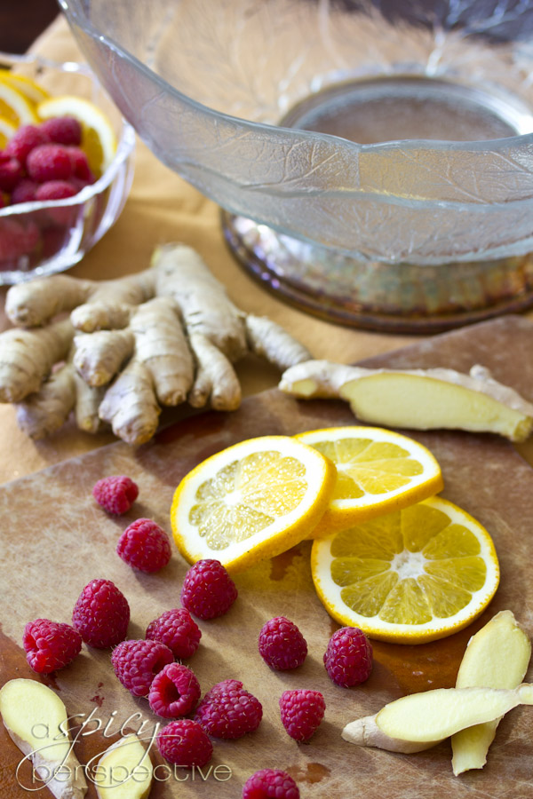 Making  Punch with Raspberry and Orange Liqueur | ASpicyPerspective.com #cocktails #newyearseve #holidays