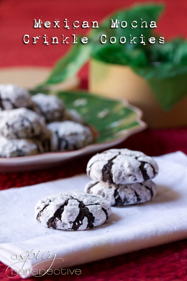 Amazing Mexican Mocha Crinkle Cookies | ASpicyPerspective.com #christmas #cookies #recipe