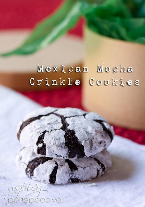 Fudgy Mexican Mocha Crinkle Cookies | ASpicyPerspective.com #christmas #cookies #recipe