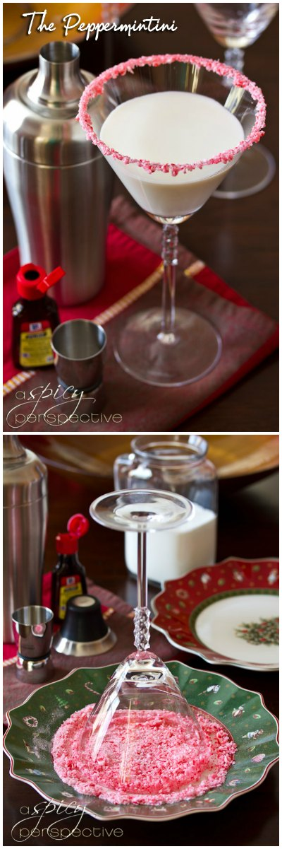 Peppermint Martini AKA The Peppermintini! ASpicyPerspective.com #cocktails #holidays #christmas #recipe