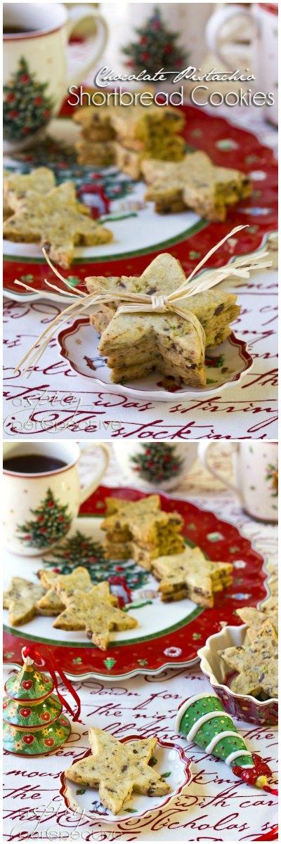 Buttery Pistachio-Chocolate Shortbread Recipe | ASpicyPerspective.com #cookies #christmascookies #cookieexchange