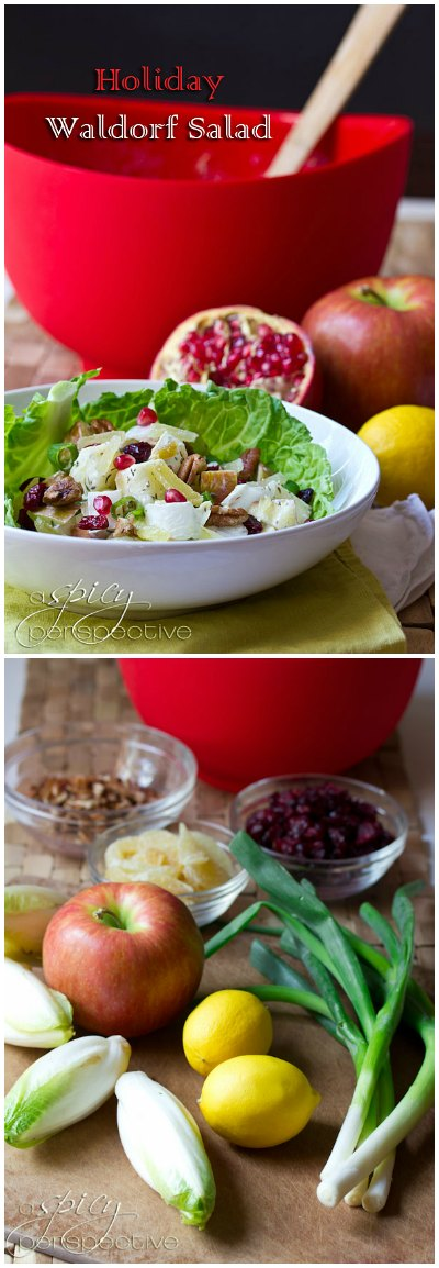 Holiday Waldorf Salad ~ Healthy Salad Recipe ASpicyPerspective.com #recipe #salad #healthy