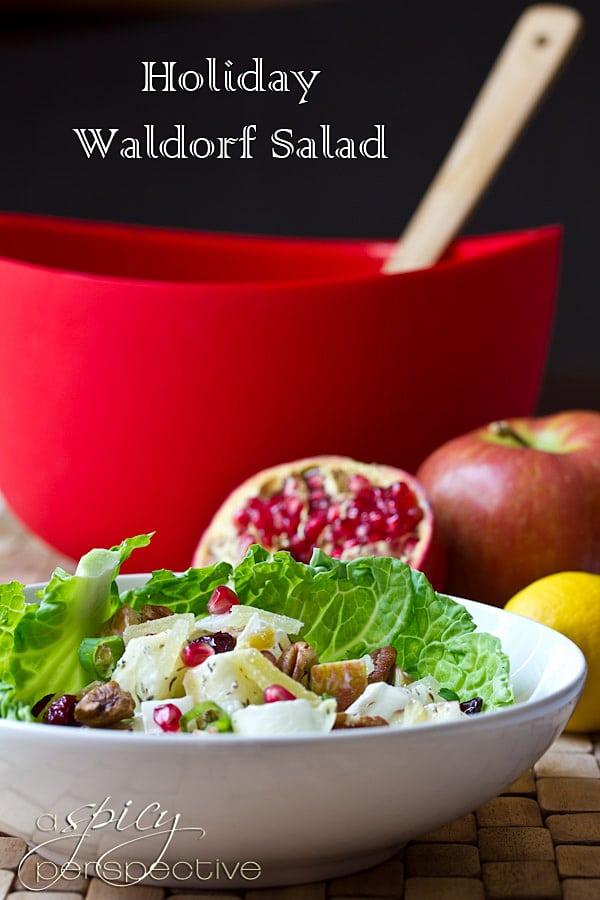 Waldorf Salad ~ Healthy Salad Recipe | ASpicyPerspective.com #recipe #salad #healthy
