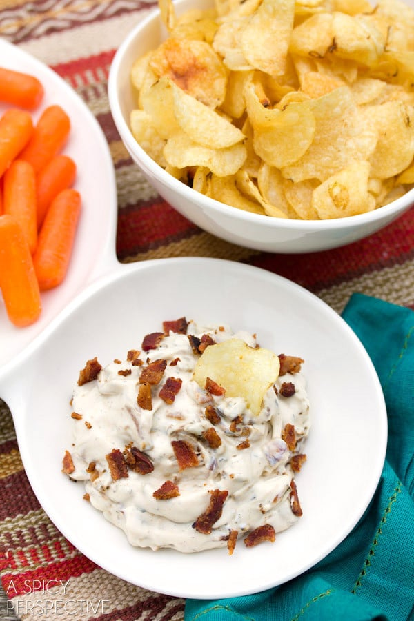 The BEST Creamy Caramelized Onion Dip on ASpicyPerspective.com #gameday #superbowl