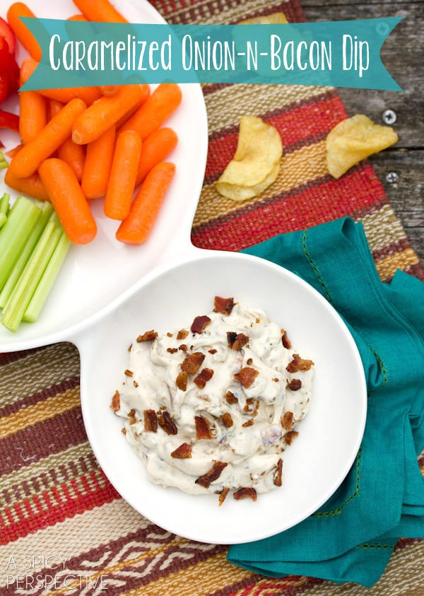 Creamy Caramelized Onion Dip on ASpicyPerspective.com #gameday #superbowl