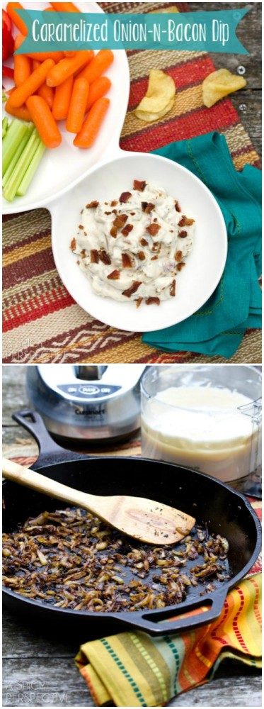 Homemade Creamy Caramelized Onion Dip on ASpicyPerspective.com #gameday #superbowl