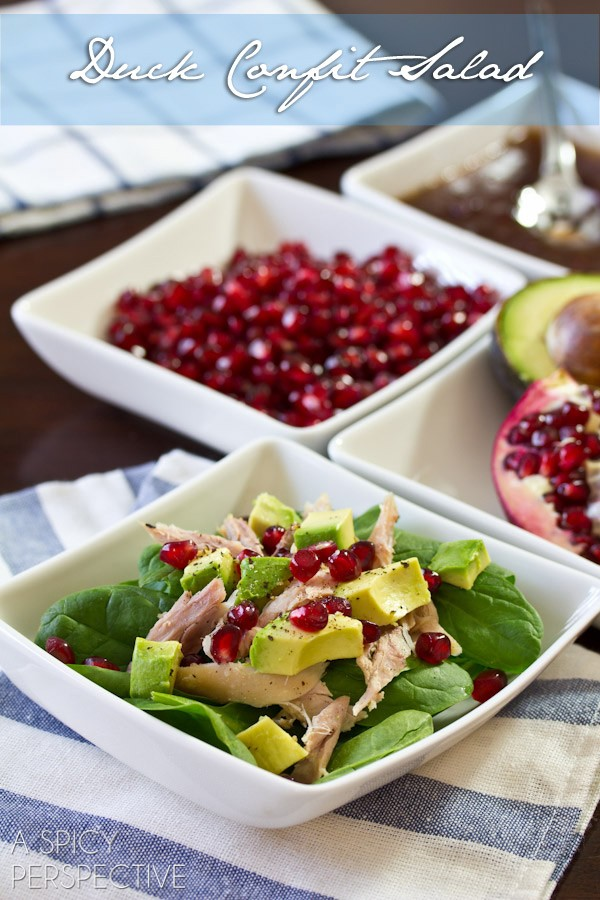 Simple and Elegant Duck Confit Salad on ASpicyPerspective.com #holiday #salad