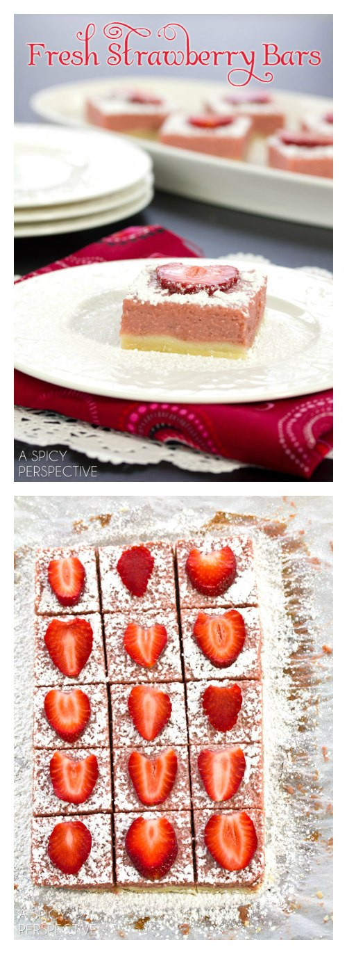 Easy Fresh Strawberry Bars #valentinesday #spring