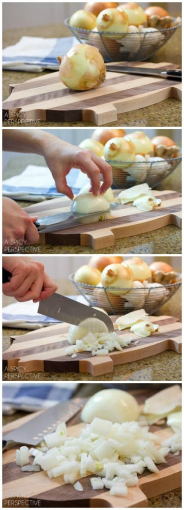 How to Chop an Onion - Tutorial on ASpicyPerspective.com #howto