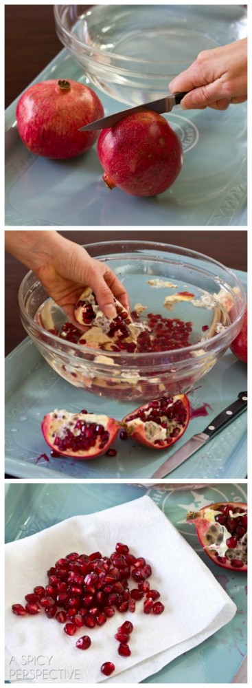 How to Cut a Pomegranate - Tutorial on ASpicyPerspective.com