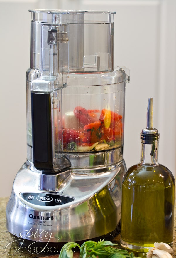 Roasted Red Pepper Pesto Recipe   ASpicyPerspective.com #pasta #healthy #wholegrain #DeLallo