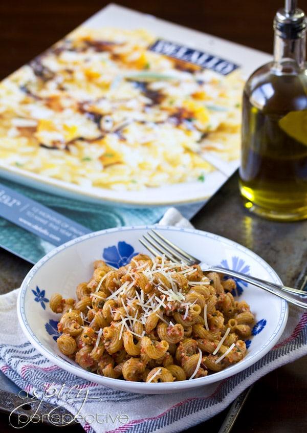 Red Pepper Pesto Pasta Recipe   ASpicyPerspective.com #pasta #healthy #wholegrain #DeLallo