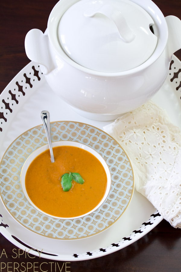 Healthy Creamy Tomato Soup | A SpicyPerspective #soup #healthy