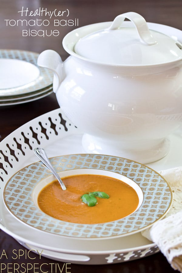 Healthy(er) Tomato Bisque | A Spicy Perspective #soup #healthy