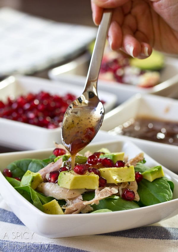 Easy Duck Confit Salad with Cranberry Vinaigrette | A Spicy Perspective #salad #valentinesday