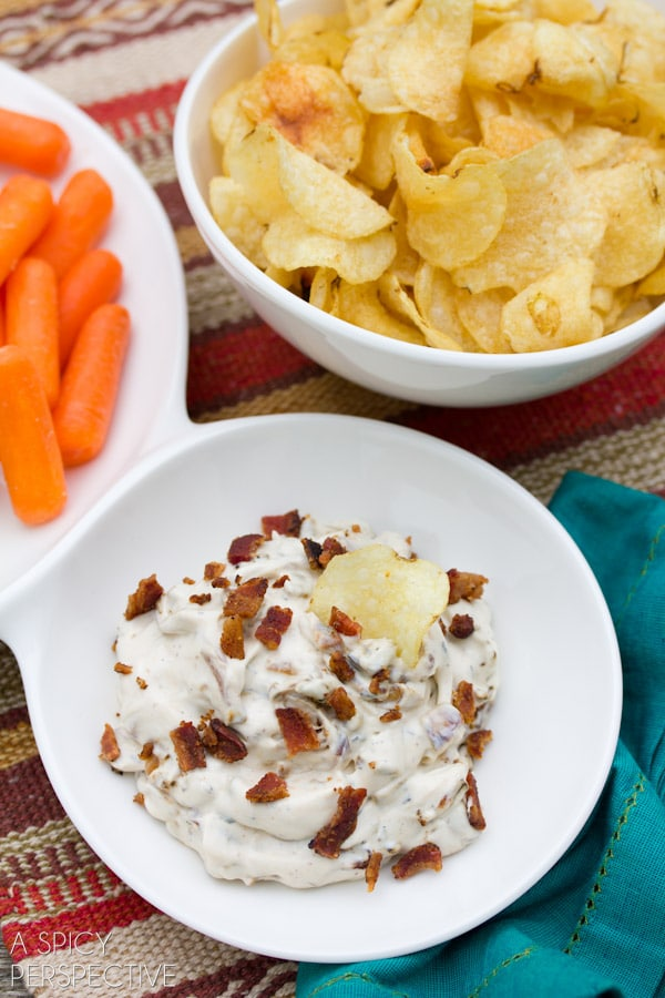 Caramelized Onion Dip Recipe | A Spicy Perspective #superbowl #gameday #oniondip