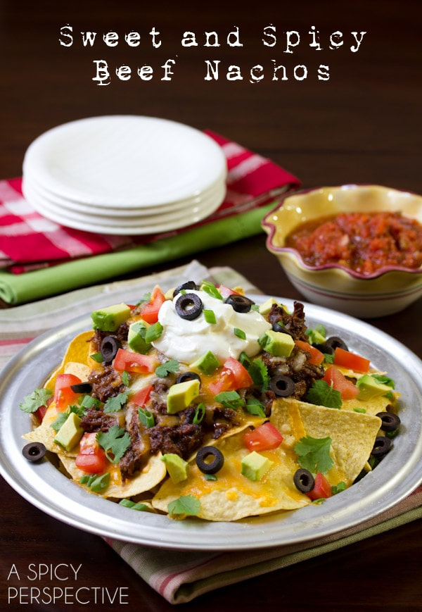 Sweet and Spicy Beef Nachos | A Spicy Perspective #gameday #superbowl #nachos