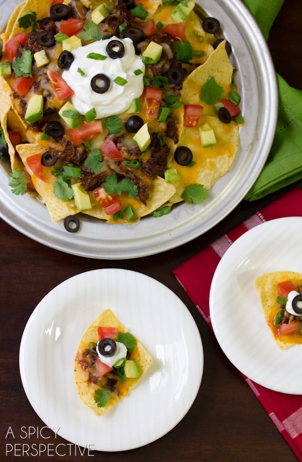 Sweet n Spicy Beef Nachos | A Spicy Perspective #gameday #superbowl #nachos